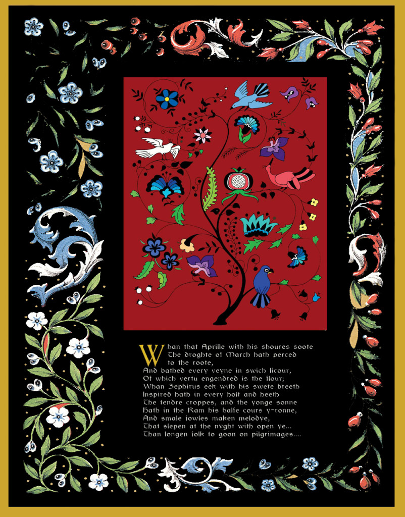 My design...border taken directly from digital picture of an illuminated manuscript.