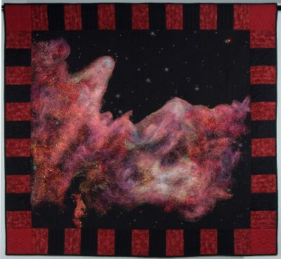 "Stellar Nursery, inspired by NASA photos of ""Mountains of Creation"".  My first deep space quilt."