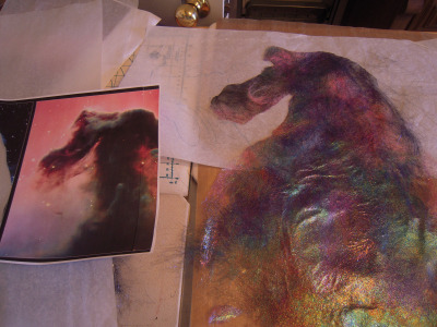 "Horsehead cut out after making as close as possible with fiber ""painting"""