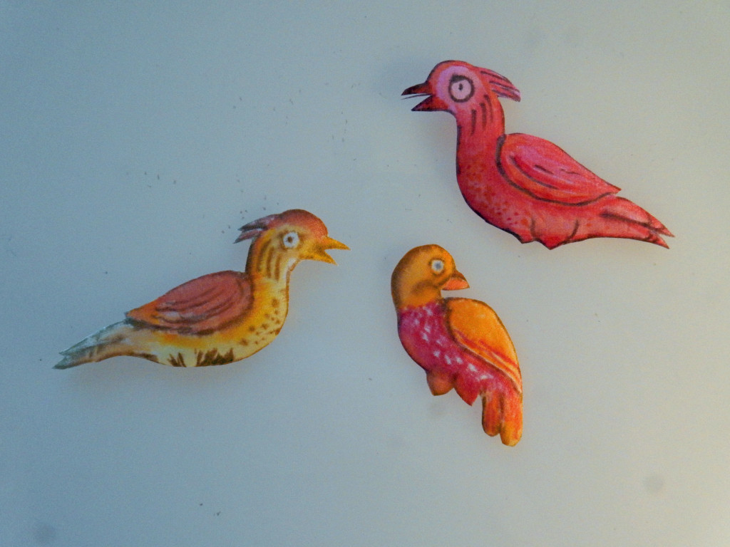 My painted birds ready to applique