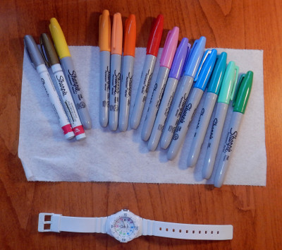 The cheap white plastic watch ready to ink.