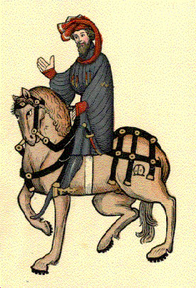 One of the original 12th century drawings of Chaucer's knight.