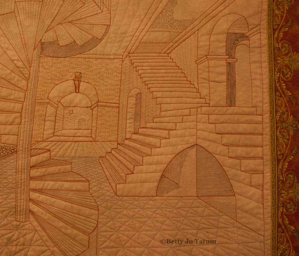 Look at the shadow under the steps. THat was many lines of thread marked with the paper method.