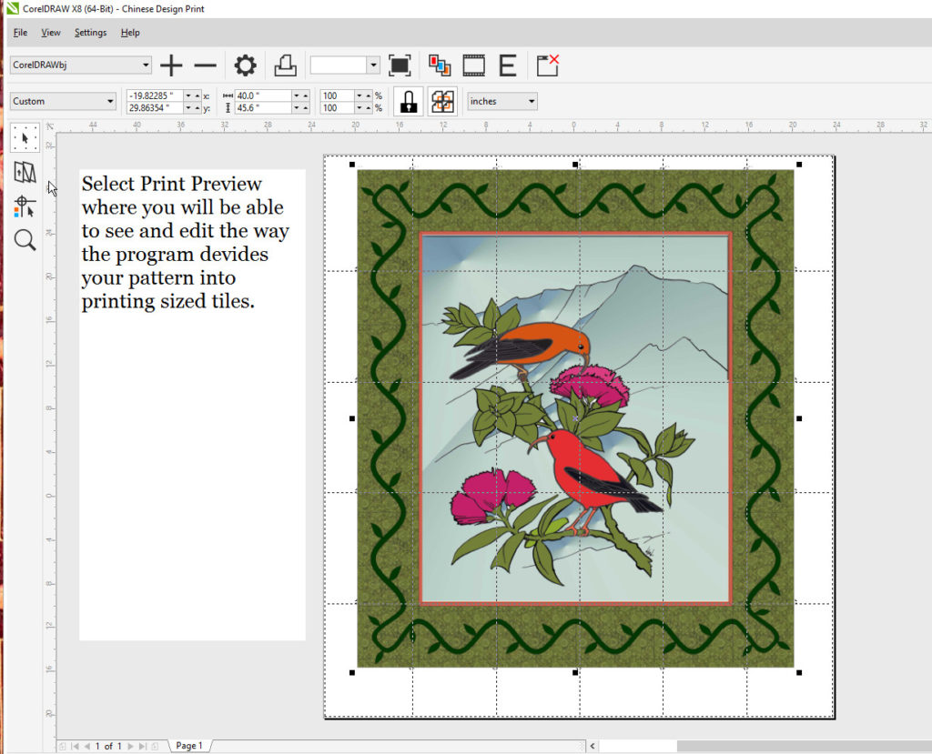 Using Corel Draw to print into tiles